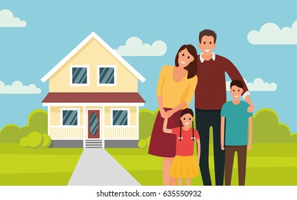 Happy young family near their home. Father, mother, son and daughter. - stock vector in the flat style.