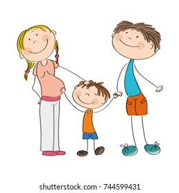 Happy young family - original hand drawn illustration of pregnant mum, dad and their son