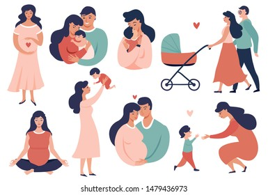 Happy young family set. Pregnancy and maternity  concept illustration. Smiling Parent, Mother hold little baby. Flat cartoon vector illustration.