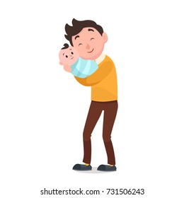 Happy young father holding his newborn baby on hands. Flat vector illustration isolated on white.