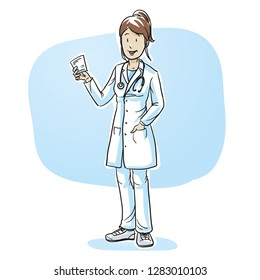 Happy young female doctor with a recipe in her hand. Hand drawn cartoon sketch vector illustration, whiteboard marker style coloring.