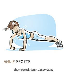 Happy young fitness woman doing workout, push ups, sports exercise. Hand drawn cartoon sketch vector illustration, whiteboard marker style coloring.