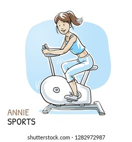 Happy young fitness woman doing workout on exercise bicycle. Hand drawn cartoon sketch vector illustration, whiteboard marker style coloring.