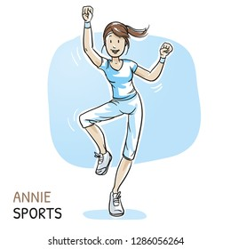 Happy young fitness woman doing workout, dance, aerobics, sports. Hand drawn cartoon sketch vector illustration, whiteboard marker style coloring.