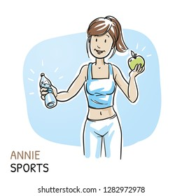 Happy young fitness woman holding apple and bottle of water. Hand drawn cartoon sketch vector illustration, whiteboard marker style coloring.