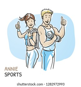 Happy young fitness woman an man showing thumbs up, after workout in  sports studio. Hand drawn cartoon sketch vector illustration, whiteboard marker style coloring.