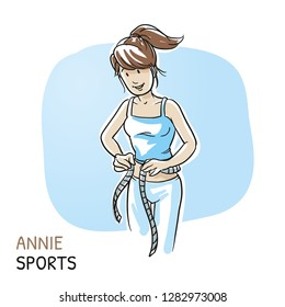 Happy young fitness woman measuring waist, after workout sports. Hand drawn cartoon sketch vector illustration, whiteboard marker style coloring.