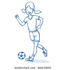 Happy young girl running and playing soccer. Hand drawn cartoon doodle vector illustration.