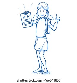 Happy young girl with school bag and an A+ exam or test in her hand. Hand drawn cartoon doodle vector illustration.