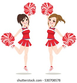Happy young girls cheerleaders jumping and dancing together