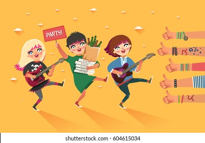 "Happy young girls with guitar, beer, pizza and ""Party"" placard get thumbs up hand sign. Friendship lifestyle. Girls having fun. Colorful vector illustration in flat style."
