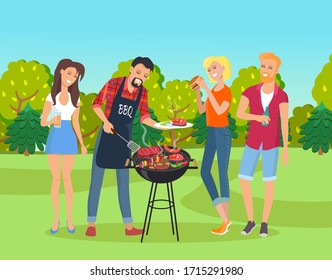 Happy young girls and guys spending time together and relaxing at nature in park. Friends meeting at bbq, grill, picnic. Man cooking meat, vegetables at grill. Girl eat burger. People drinking alcohol