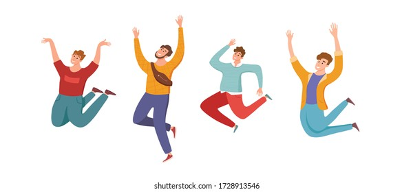 Happy young guys jumping in different poses vector illustration. Cartoon concept of joyful laughing men with raised hands. Flat positive boys lifestyle design for party, sport, dance, happiness, succe