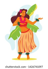 Happy young hawaiian woman is dancing ethnic hula dance. Tropic vacation, holiday on islands. Colorful vector illustration for banner, card, website.