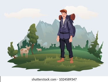 Happy young man with backpack on the background of the mountain landscape. Mountain tourism, hiking, active outdoor recreation. Vector illustration, isolated on light background.