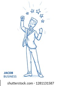 Happy young man in business suit making winning gesture with stars around him, concept for best, success. Hand drawn blue line art cartoon vector illustration.