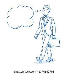 Happy young man in business suit walking with case, thinking with thought bubble. Hand drawn line art cartoon vector illustration.