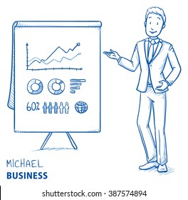 Happy young man in business suit holding hand as if explaining or presenting something (e.g product). Hand drawn line art cartoon vector illustration.