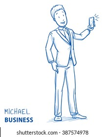 Happy young man in business suit taking a photo with his mobile phone. Hand drawn line art cartoon vector illustration.