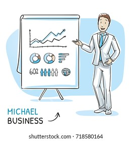 Happy young man in business suit holding hand up and explaining or presenting something (e.g product). Hand drawn cartoon sketch vector illustration, whiteboard marker style coloring.