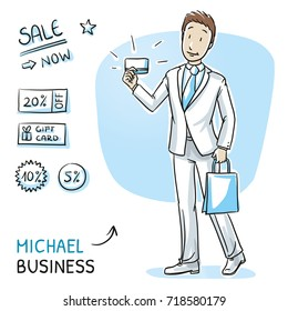 Happy young man in business suit with bag and shopping or credit card. Hand drawn cartoon sketch vector illustration, whiteboard marker style coloring.