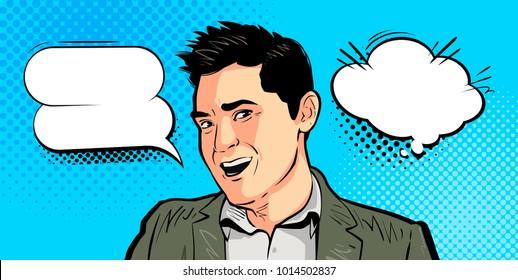 Happy young man, businessman says. Cartoon vector illustration, drawn in pop art retro comic style