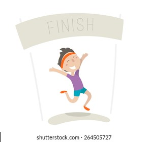 Happy young man came to the finish line first. Flat illustration, vector image.