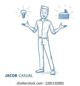 Happy young man in casual clothes holding hands up for presenting something (with icons for idea and money. Hand drawn blue line art cartoon vector illustration.