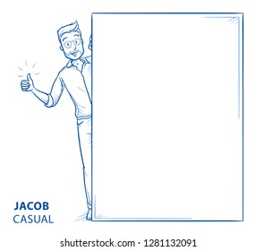Happy young man in casual clothes peering behind a wall showing thump up. Mock up for advert, offer, invitation, announcement. Hand drawn blue line art cartoon vector illustration.