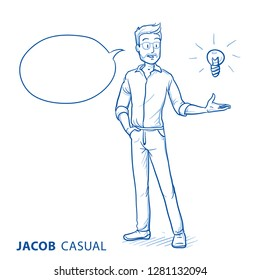 Happy young man in casual clothes holding hand up for presenting an idea or sollution (with icon for idea) . Hand drawn blue line art cartoon vector illustration.