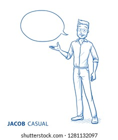 Happy young man in casual clothes holding hand up for presenting, showing or explaining something, with speech bubble. Hand drawn blue line art cartoon vector illustration.