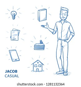 Happy young man in casual clothes holding hand up for presenting something (with icons for product packaging, house, idea, phone, money, files). Hand drawn blue line art cartoon vector illustration.