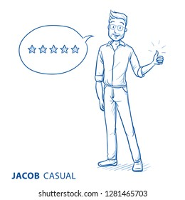 Happy young man in casual clothes showing thumb up rating something good. Hand drawn blue line art cartoon vector illustration.