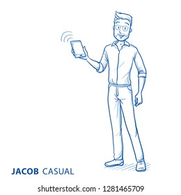 Happy young man in casual clothes holding his smart phone. Concept for receiving, sending, or synchronizung, data, network, apps or services. Hand drawn blue line art cartoon vector illustration.