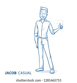Happy young man in casual clothes showing thumb up, recommending something. Hand drawn blue line art cartoon vector illustration.