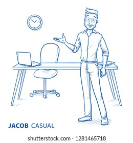 Happy young man in casual clothes presenting a workplace. Concept for job offer, hiring, perfect workspace or recruiting. Hand drawn blue line art cartoon vector illustration.