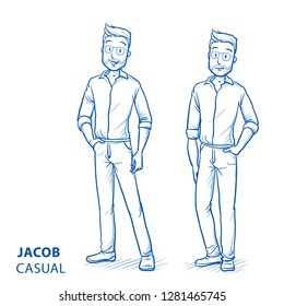Happy young man in casual clothes in two relaxed poses. Hand drawn blue line art cartoon vector illustration.