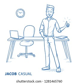 Happy young man in casual clothes showing thumb up standing at desk. Concept for good work, best sollution, home office, good employer. Hand drawn blue line art cartoon vector illustration.