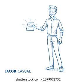 Happy young man in casual clothes with paper in his hand. Concept for giving or receiving some documents or a contract. Hand drawn blue line art cartoon vector illustration.