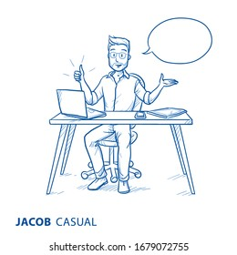 Happy young man in casual clothes showing thumb up at his home office desk with speech bubble. Hand drawn blue line art cartoon vector illustration