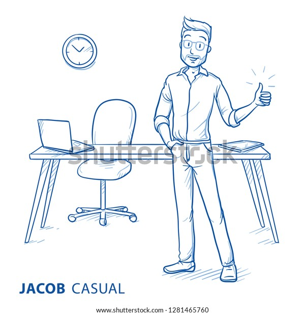 Happy Young Man Casual Clothes Showing Stock Vector Royalty