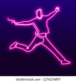 Happy young man continuous one neon line vector drawing. Cheerful male figure on blue gradient background. Jumping from happiness pink glowing person silhouette. Minimalistic contour illustration