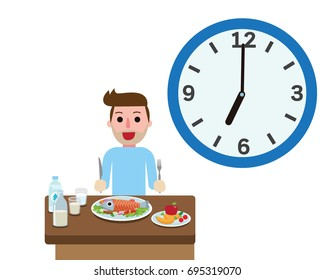 Happy young man with eating time.Healthy foods for breakfast.meal of morning. People healthy lifestyle concept.Vector flat style cartoon character design illustrationIsolated on white background.