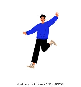 Happy Young Man Jumping, Guy Celebrating Important Event, Dance Party, Friendship, Sport Concept Vector Illustration