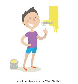 Happy young man with paint roller painting over white wall, vector illustration, flat style