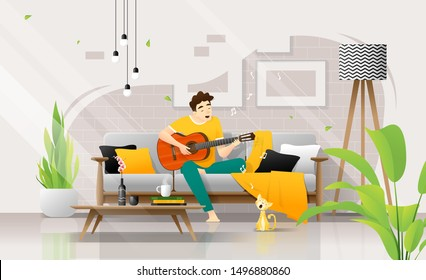 Happy young man playing guitar on sofa in living room, relaxing weekend at home ,vector , illustration