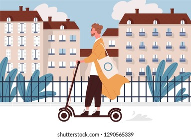 Happy young man riding motorized or electric kick scooter along city street. Smiling hipster guy using modern vehicle or type of transportation. Colorful vector illustration in flat cartoon style.