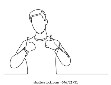 happy young man showing thumb up - continuous line drawing