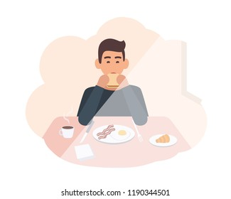 Happy young man sitting at table and eating delicious morning meal. Male character having breakfast at home. Smiling boy chewing sandwich. Colorful vector illustration in flat cartoon style.
