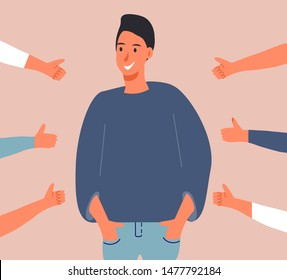 Happy young man is standing and he is surrounded by hands with thumbs up. Scene of public approval and appreciation of friends, coworkers.  Cartoon concept vector of acknowledgment and recognition.
